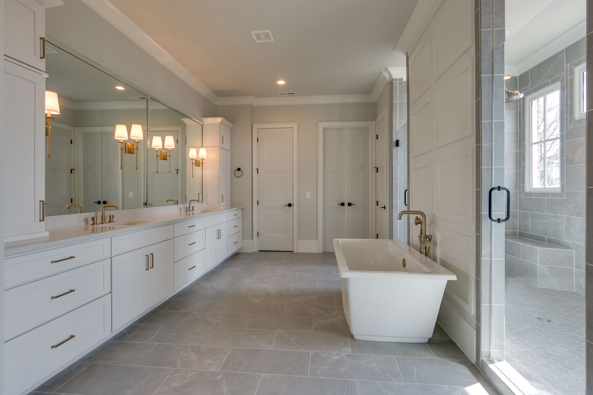Custom bathroom with open space from a Nashville Home Builder New Homes Thompson Station TN