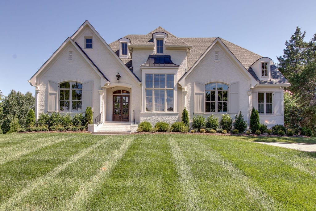 Front View of New homes by fine home builder new construction in Franklin, Brentwood, and Thompson Station TN with Custom Home Design