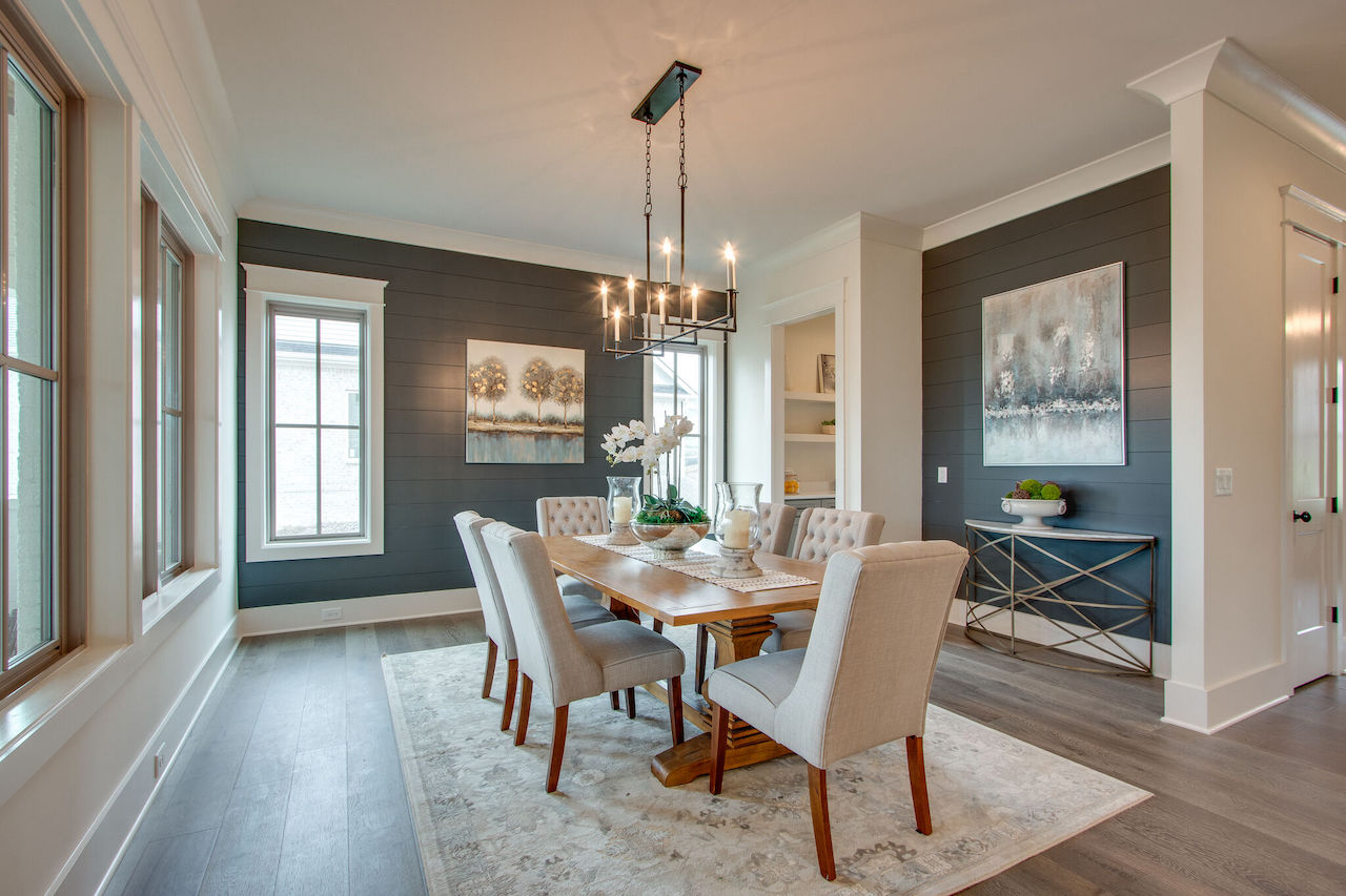 Dining room with modern interior design from Nashville Home Builders for new construction in Franklin TN