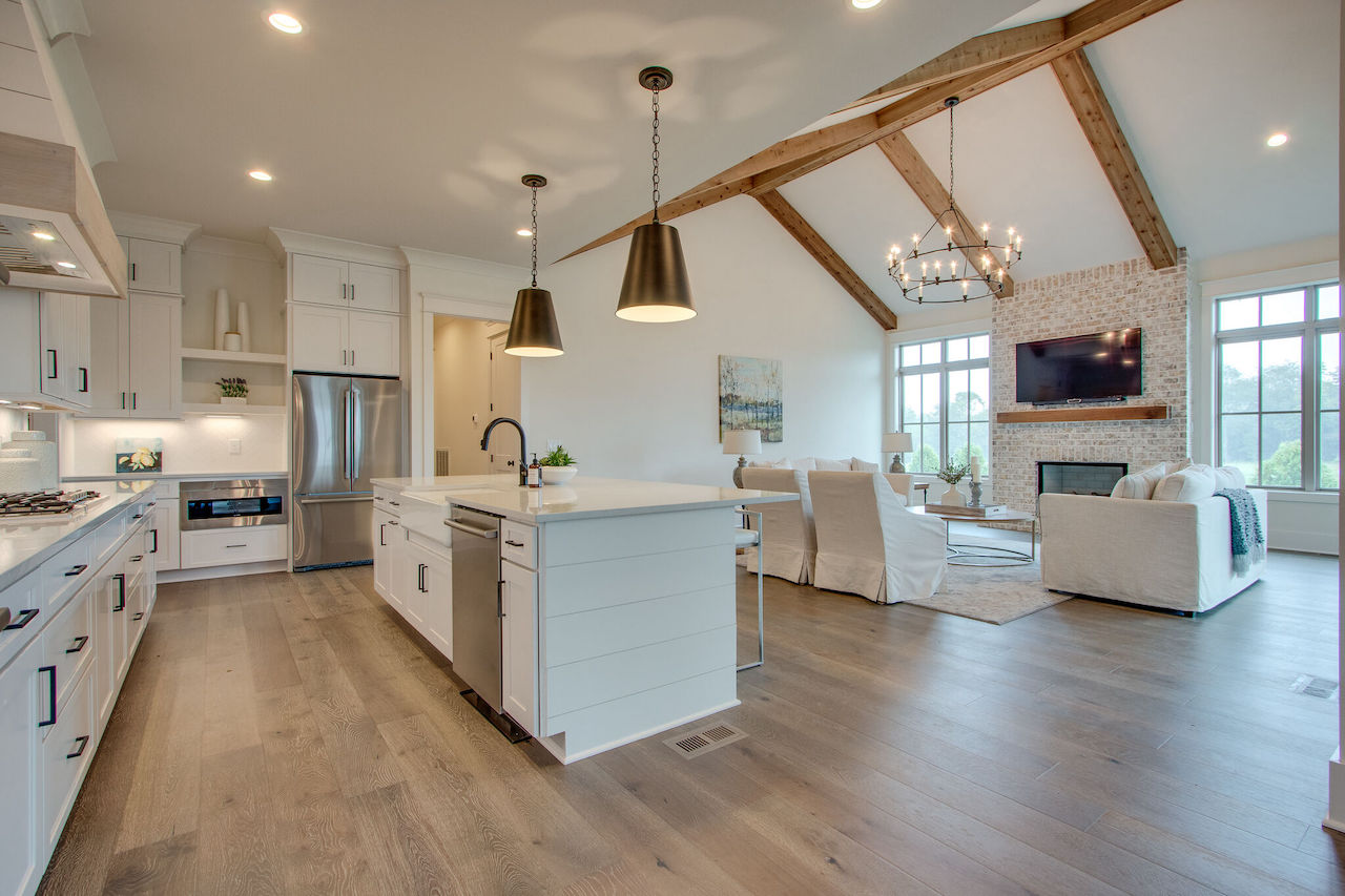 kitchen with an island built for a new construction project in Franklin TN