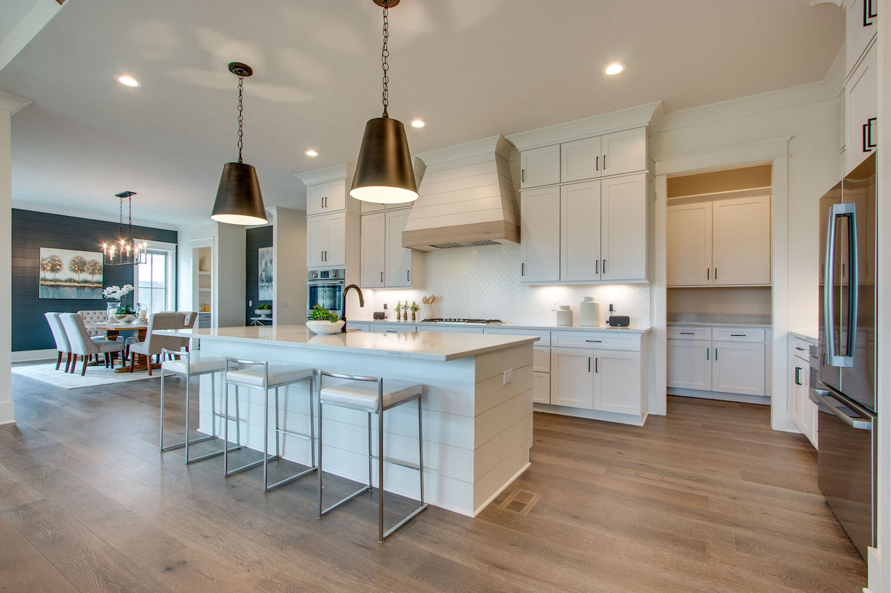 modern kitchen with white cabinets built for a new construction project in Thompson Station TN