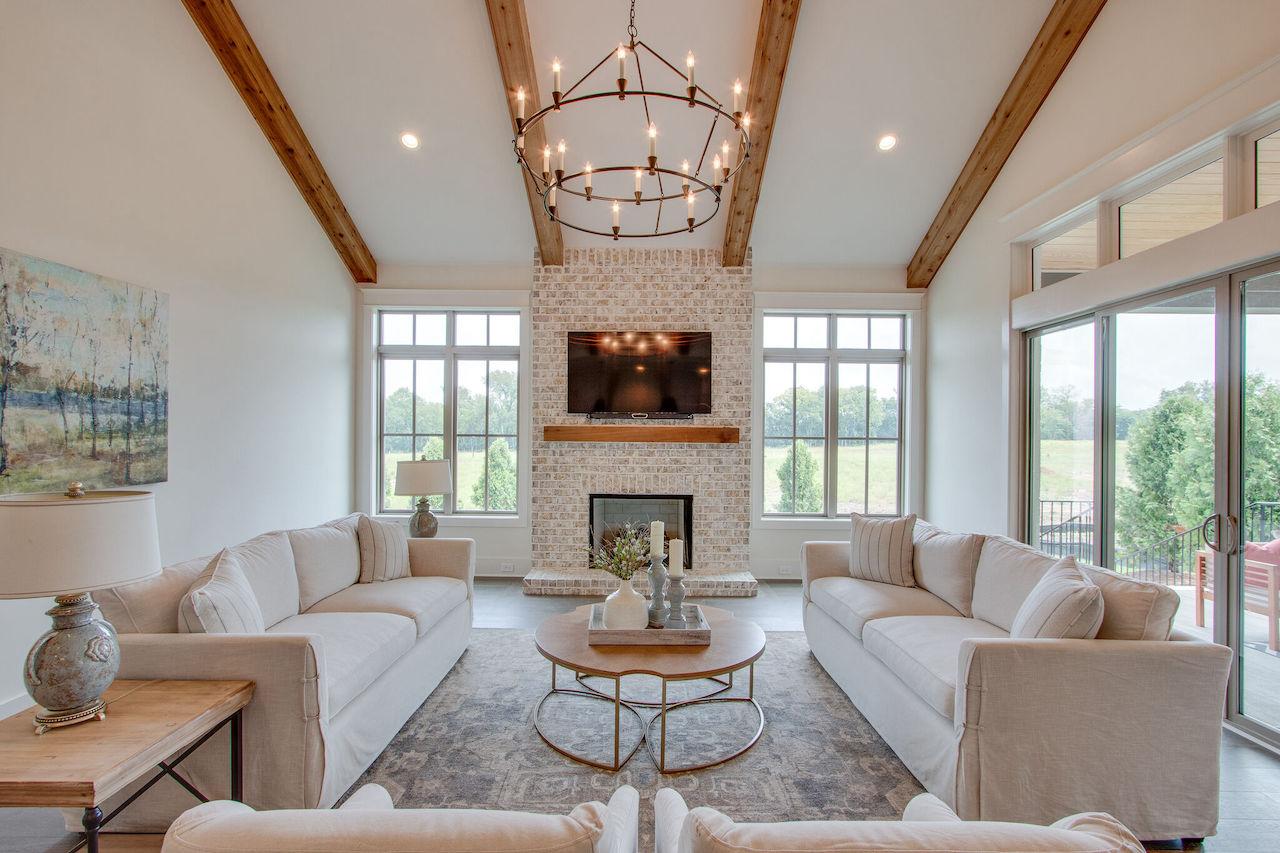 Living room area that has modern interior design custom built by Nashville home builders