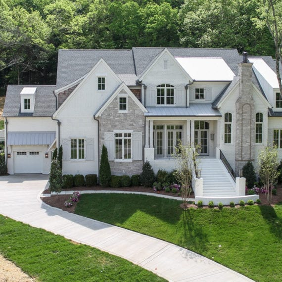 modern white and grey two story home from our Nashville home builder for new homes and new construction in Franklin TN